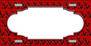 Red Black Anchor Print With Scallop Center Wholesale Metal Novelty License Plate LP-5319