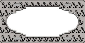Grey Black Anchor Print With Scallop Center Wholesale Metal Novelty License Plate LP-5320