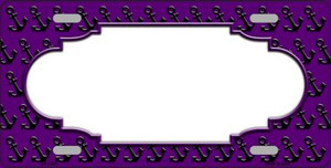 Purple Black Anchor Print With Scallop Center Wholesale Metal Novelty License Plate LP-5321