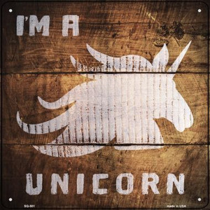 Im A Unicorn Painted Stencil Wholesale Novelty Square Sign SQ-501