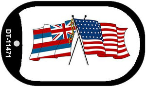 Hawaii / USA Crossed Flags Wholesale Novelty Metal Dog Tag Necklace DT-11471