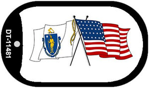 Massachusetts / USA Crossed Flags Wholesale Novelty Metal Dog Tag Necklace DT-11481