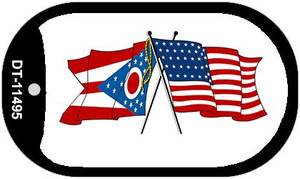 Ohio / USA Crossed Flags Wholesale Novelty Metal Dog Tag Necklace DT-11495