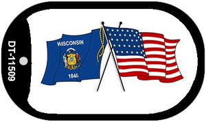 Wisconsin / USA Crossed Flags Wholesale Novelty Metal Dog Tag Necklace DT-11509