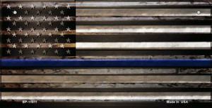 Police Thin Blue Line Corrugated Wholesale Novelty Metal Bicycle Plate BP-11811