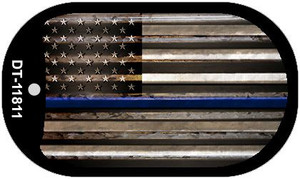 Police Thin Blue Line Corrugated Wholesale Novelty Metal Dog Tag Necklace DT-11811
