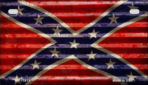Confederate Flag Corrugated Wholesale Novelty Metal Motorcycle Plate MP-11813