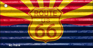 Arizona Route 66 Corrugated Wholesale Novelty Metal Key Chain KC-11814