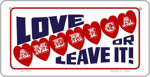 Love America or Leave Wholesale Novelty Metal Bicycle Plate BP-144