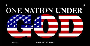 One Nation Under God Wholesale Novelty Metal Bicycle Plate BP-137