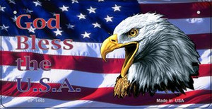 God Bless The USA Wholesale Novelty Metal Bicycle Plate BP-1445
