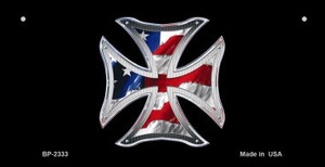 Maltese Cross American Flag Wholesale Novelty Metal Bicycle Plate BP-2333