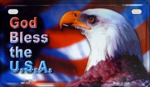 God Bless The USA Wholesale Novelty Metal Motorcycle Plate MP-151