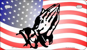 American Flag Praying Hands Wholesale Novelty Metal Motorcycle Plate MP-1321