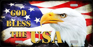 God Bless The USA Wholesale Novelty Metal License Plate LP-11910