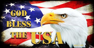God Bless The USA Wholesale Novelty Metal Bicycle Plate BP-11910