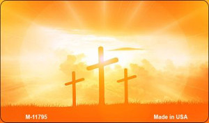Three Crosses Sunset Wholesale Novelty Metal Magnet M-11795