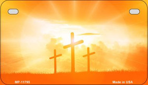 Three Crosses Sunset Wholesale Novelty Metal Motorcycle Plate MP-11795