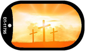 Three Crosses Sunset Wholesale Novelty Metal Dog Tag Necklace DT-11795