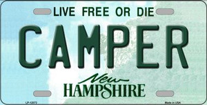 Camper New Hampshire State Wholesale Novelty Metal License Plate LP-12073