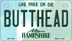 Butthead New Hampshire Wholesale Novelty Metal Motorcycle Plate MP-12164