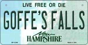 Goffes Falls New Hampshire Wholesale Novelty Metal Bicycle Plate BP-12166