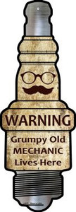 Grumpy Old Mechanic Wholesale Novelty Metal Spark Plug Sign J-037