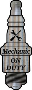 Mechanic On Duty Wholesale Novelty Metal Spark Plug Sign J-043