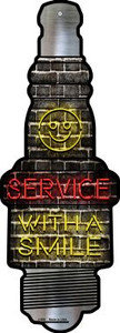 Service With A Smile Wholesale Novelty Metal Spark Plug Sign J-055