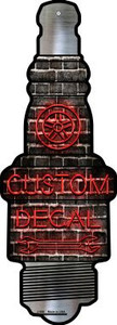 Custom Decal Wholesale Novelty Metal Spark Plug Sign J-056