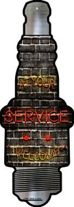 At Your Service Wholesale Novelty Metal Spark Plug Sign J-083