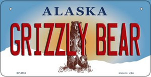 Grizzly Bear Alaska Wholesale Novelty Metal Bicycle Plate BP-9594