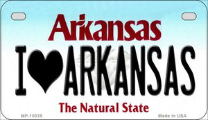 I Love Arkansas Wholesale Novelty Metal Motorcycle Plate MP-10035