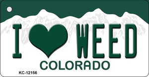 I Love Weed Colorado Wholesale Novelty Metal Key Chain KC-12156