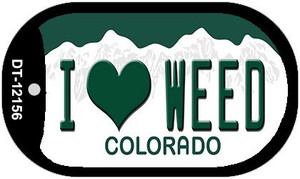 I Love Weed Colorado Wholesale Novelty Metal Dog Tag Necklace DT-12156