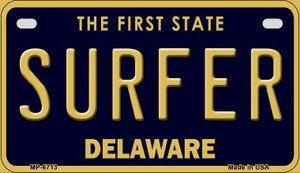 Surfer Delaware Wholesale Novelty Metal Motorcycle Plate MP-6713