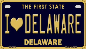 I Love Delaware Wholesale Novelty Metal Motorcycle Plate MP-6730