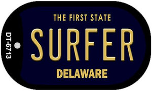 Surfer Delaware Wholesale Novelty Metal Dog Tag Necklace DT-6713