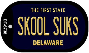 Skool Suks Delaware Wholesale Novelty Metal Dog Tag Necklace DT-6738