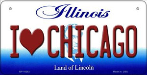 I Love Chicago Illinois Wholesale Novelty Metal Bicycle Plate BP-10283