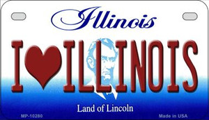 I Love Illinois Wholesale Novelty Metal Motorcycle Plate MP-10280