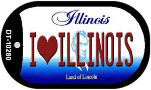 I Love Illinois Wholesale Novelty Metal Dog Tag Necklace DT-10280