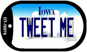 Tweet Me Iowa Wholesale Novelty Metal Dog Tag Necklace DT-10976