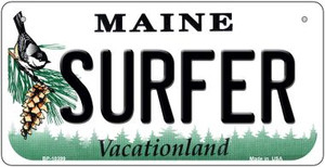 Surfer Maine Wholesale Novelty Metal Bicycle Plate BP-10399