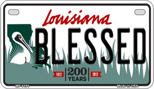 Blessed Louisiana Wholesale Novelty Metal Motorcycle Plate MP-6191