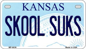 Skool Suks Kansas Wholesale Novelty Metal Motorcycle Plate MP-6636
