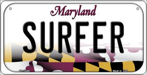 Surfer Maryland Wholesale Novelty Metal Bicycle Plate BP-10480
