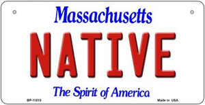 Native Massachusetts Wholesale Novelty Metal Bicycle Plate BP-11010