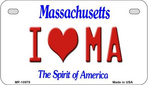 I Love MA Massachusetts Wholesale Novelty Metal Motorcycle Plate MP-10979