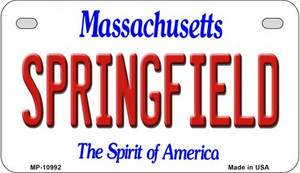 Springfield Massachusetts Wholesale Novelty Metal Motorcycle Plate MP-10992